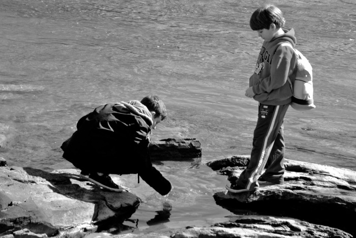 boys at creek
